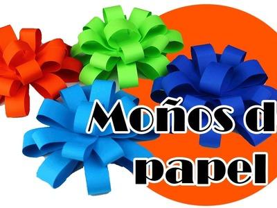 Como hacer moños de papel para decorar regalos paso a paso