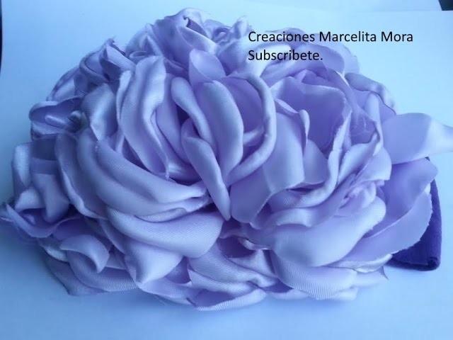Flor Grande Esponjosa en Tiara-Headband Fabric Flower Big.