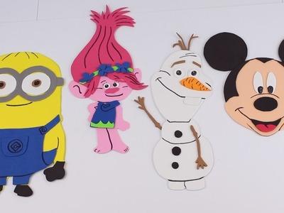 Haciendo a Mickey Mouse, Troll Poppy, Minion y Olaf con goma eva