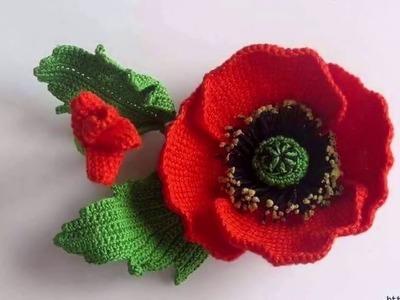 Hermosas Flores tejidas en crochet Puntos a Ganchillo