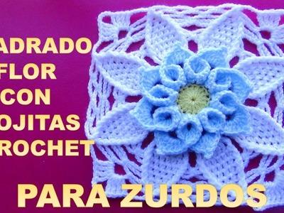 Para ZURDOS: Cuadrado flor a crochet con hojitas PASO A PASO EN VIDEO TUTORIAL