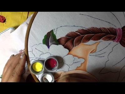 Pintura en tela rostro con flores # 3 con cony