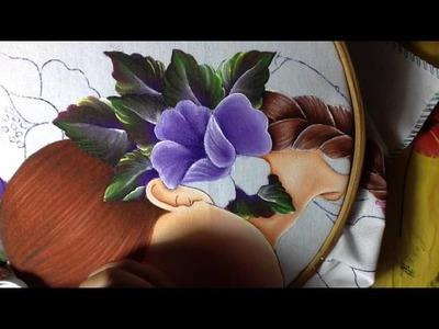 Pintura en tela rostro de flores # 4 con cony