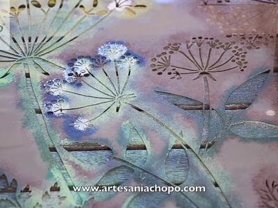 Reciclar madera con pintura Stain de DecoArt Americana y plantillas