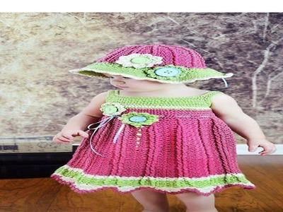 Vestido Tejido En Crochet y Dos Agujas Para Niña