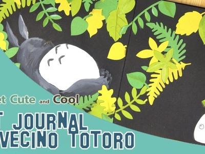 Art Journal 5: Mi Vecino Totoro (acrilico, dylusions, troqueles)