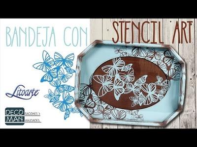 BANDEJA CON STENCIL ART DE LITOARTE | DECOMAN