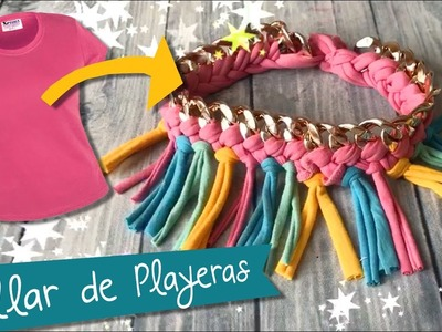 Collar súper fácil con Playeras :: Collar de moda:: Necklace diy