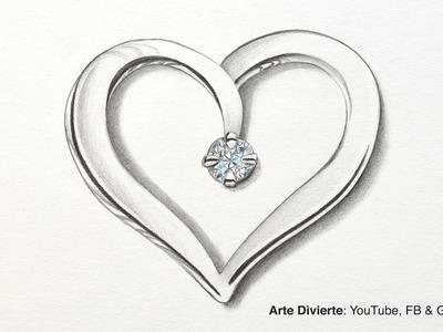 Cómo dibujar un corazón de plata con diamante