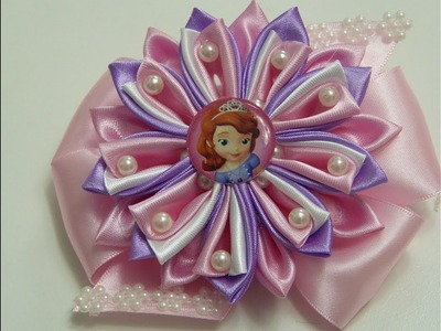 Como Hacer Flor Kanzashi de tela  con perlas,  How to make Kanzashi flower fabric with pearls