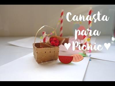 Cómo hacer una mini canasta para picnic! - canasta de papel reciclado.