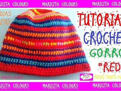 """Cómo tejer Gorro a Crochet con Media Vareta ó Medio Punto alto """"RED"""" por Maricita Colours"""