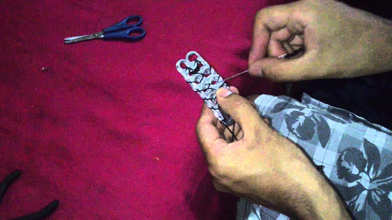 Correa hecha con anillas de latas. Parte 2