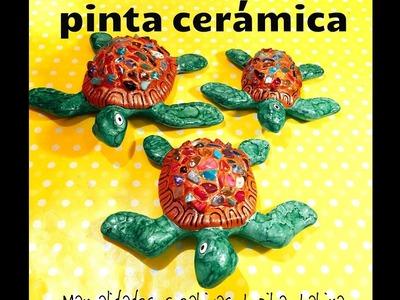 DIY pinta tortugas Ceramica cuarzos tintas paint ceramics