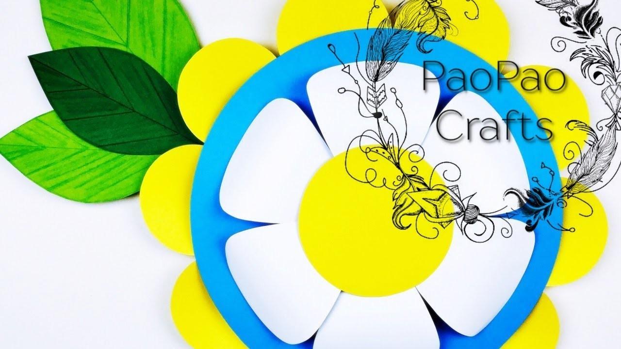 FLOR GIGANTE DE PAPEL   FLORES DE PAPEL   MOLDES GRATIS   HOW TO MAKE PAPER FLOWER
