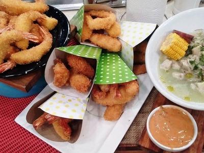 Langostinos fritos con dip de mayonesa casera y ceviche con salsa de tigre