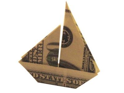 Origami de dinero. Velero