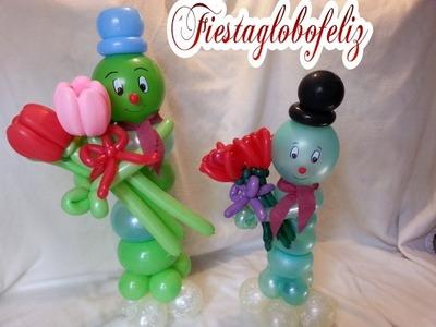 Oruga  para san Valentín hecho de globos