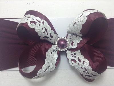 Tiara  color tinto con listón picado perla VIDEO No. 379