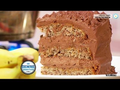 Torta de banana con relleno de chocolate y dulce de leche