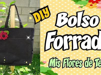 Bolso Forrado con Flor Broche en 3d - Mis Flores de Tela DIY Tutorial Costura