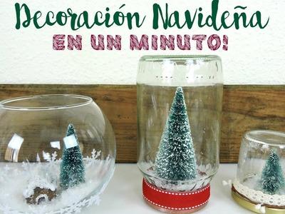 COMO HACER BOLAS DE NIEVE NAVIDEÑAS | Decoración Navideña EN UN MINUTO!