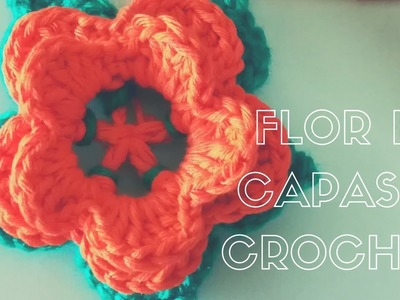 Como hacer Flor capas con hojas  tejida a crochet *crochet Flower basic*