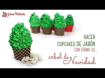 Hacer cupcakes de jabón con forma de árbol de navidad