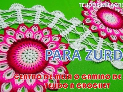 Para ZURDOS: CENTRO DE MESA A CROCHET CON FLORES PASO A PASO