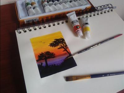 Pintado con acuarelas Marie´s water color. como pintar atardecer con acuarelas. Speed Drawing