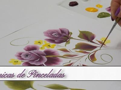 Tecnicas de Pinceladas, Hojas y Rosas en Pintura Decorativa