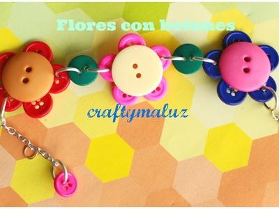 Tutoriales:♥Pulsera Flores de Botones