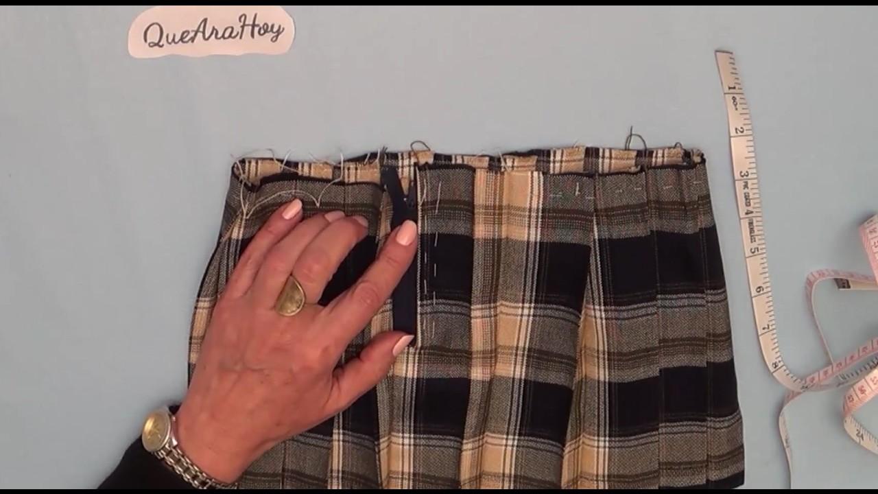 Como coser el cierre a una falda de pastelones. Clase # 69
