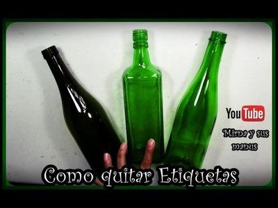 Como quitar etiquetas de Botellas de Vidrio. Mirna y sus manus . How to Remove Glass Bottle Labels