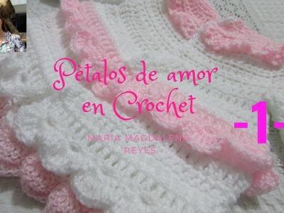 Como tejer  en crochet, vestido pètalos de amor.Parte UNO
