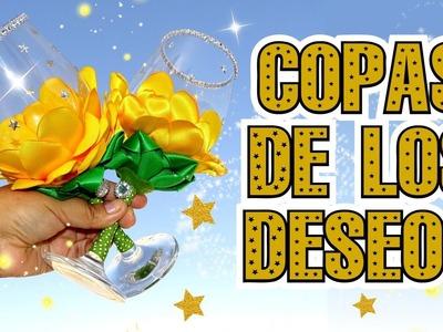 Copas decoradas con Flores de Tela para Año Nuevo - Copa de los Deseos
