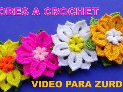 Para ZURDOS: Te encantarán estas lindas flores tejidas a crochet en diferentes colores con hojitas