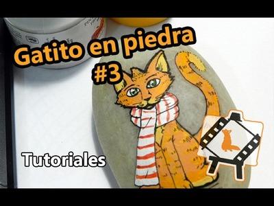 """Pintura en piedras """"Gatito #3"""". Tutorial"""