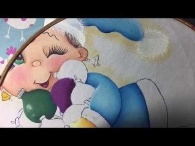 Pintura En Tela Niña Con Esferas # 3 Con Cony