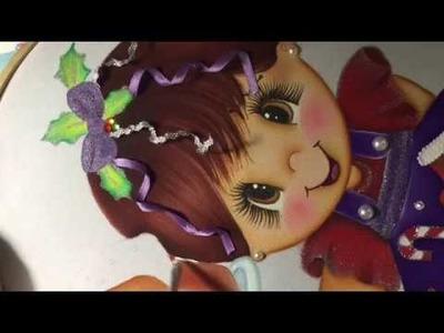 Pintura En Tela Niña Navidad # 5 Con Cony
