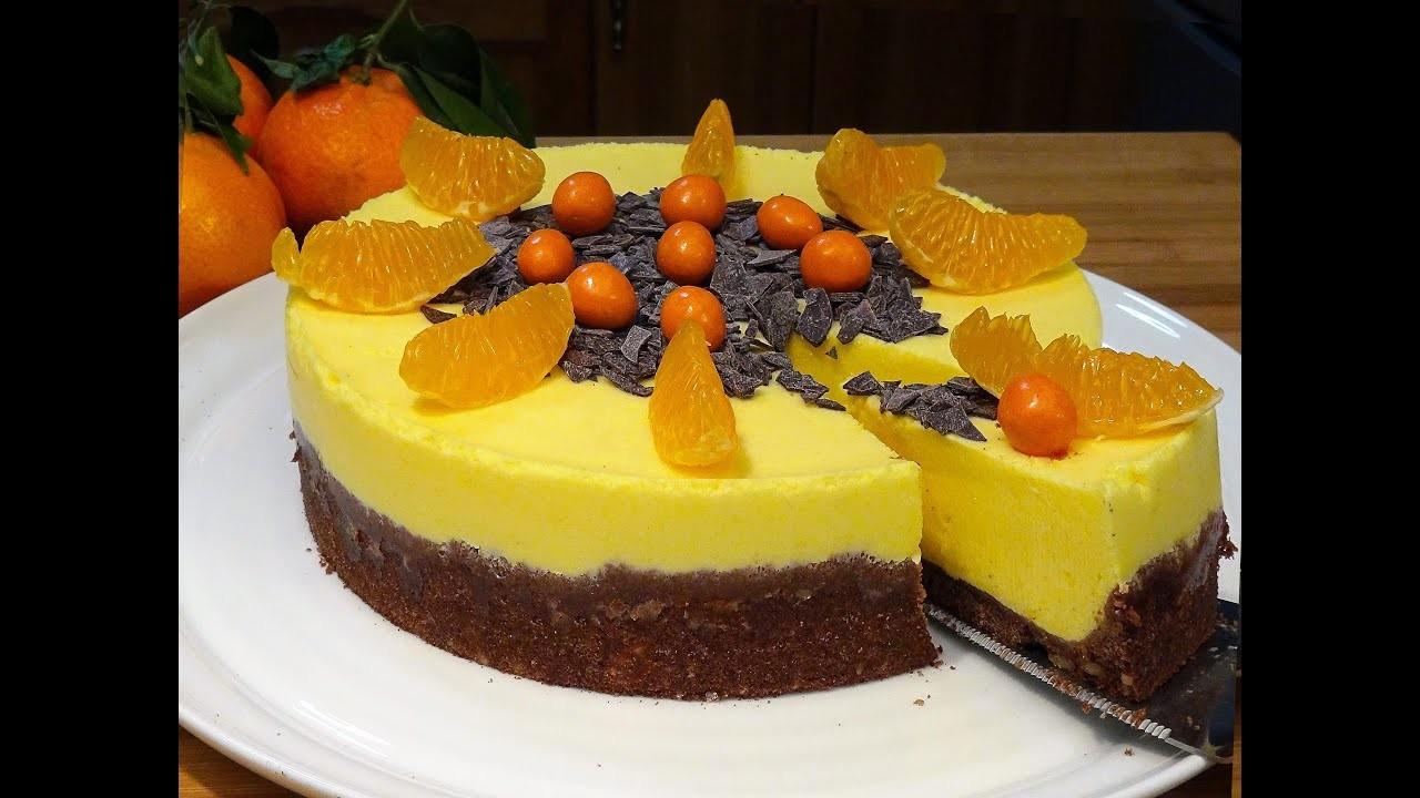 Receta Tarta Mousse de Mandarina con base de galletas con nueces - Recetas de cocina, paso a paso