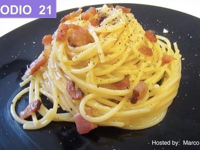 Spaghetti a la carbonara - Receta autentica italiana espagueti pasta ala carbonara.