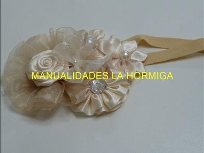 Tiara de bautizo color Perla, Baby Headbands, Como hacer Flores Tutorial