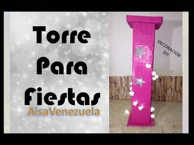 Torre decorativa con cartón para fiestas tematicas | AisaVenezuela