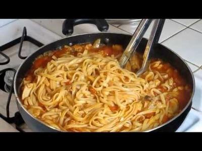 Una facil y deliciosa receta de Pasta con pollo y vegetales
