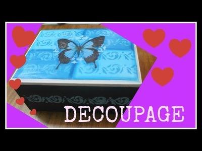 Cómo decorar una caja con decoupage y stencil- Tutorial - DIY