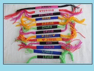 Como hace pulseras  en hilo con el nombre personalizadas [fácil]. pulseras NUMERO 1