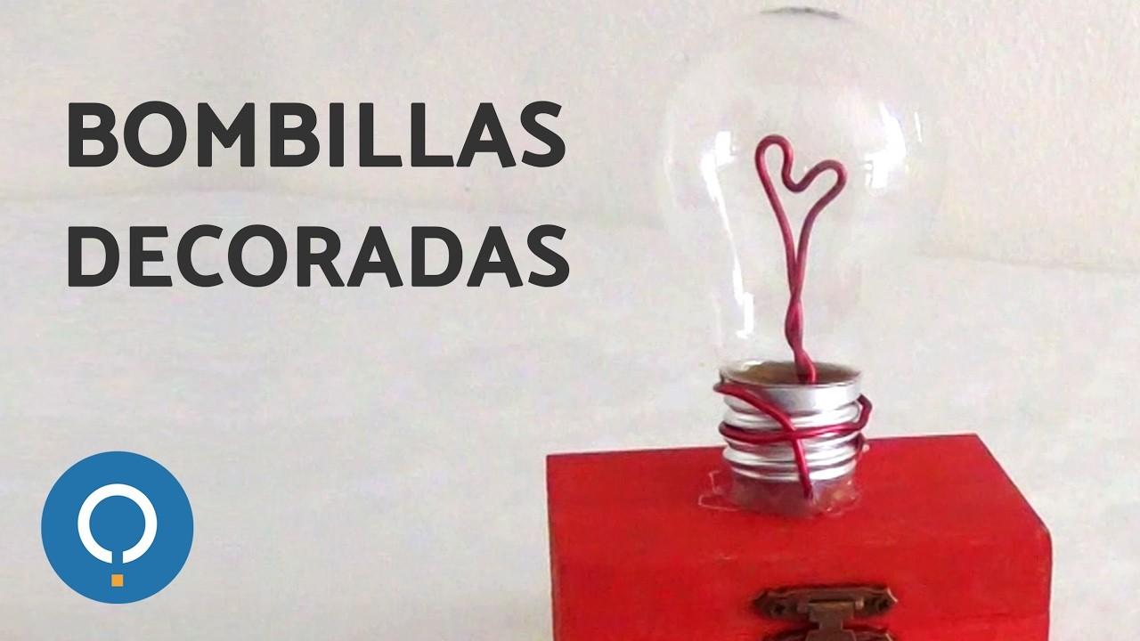 Corazón de San Valentín dentro de BOMBILLA - Bombillas Recicladas