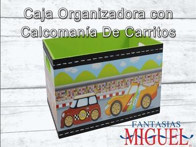 Caja  Organizadora Con Calcomanía De Carritos.