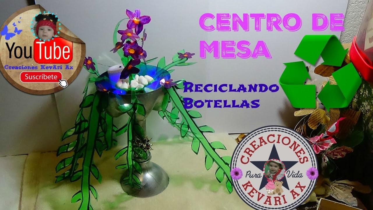 Centro de Mesa Reciclando Botellas Plásticas♻. DIY Flower Showpiece Make with Plastic Bottle